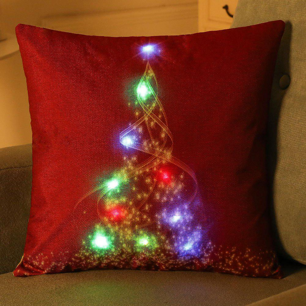 Creative Christmas Tree LED Light Glowing Pillow CaseHOME<br><br>Size: W18 INCH * L18 INCH; Color: RED; Material: Linen; Pattern: Christmas Tree; Style: Festival; Shape: Square; Weight: 0.1100kg; Package Contents: 1 x Pillow Case;
