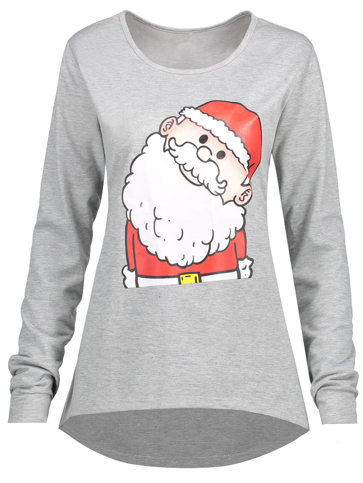 Christmas Santa Claus Plus Size High Low T-shirtWOMEN<br><br>Size: 3XL; Color: GRAY; Material: Cotton,Polyester; Shirt Length: Long; Sleeve Length: Full; Collar: Round Neck; Style: Casual; Season: Fall,Spring,Winter; Pattern Type: Print; Weight: 0.3200kg; Package Contents: 1 x T-shirt;