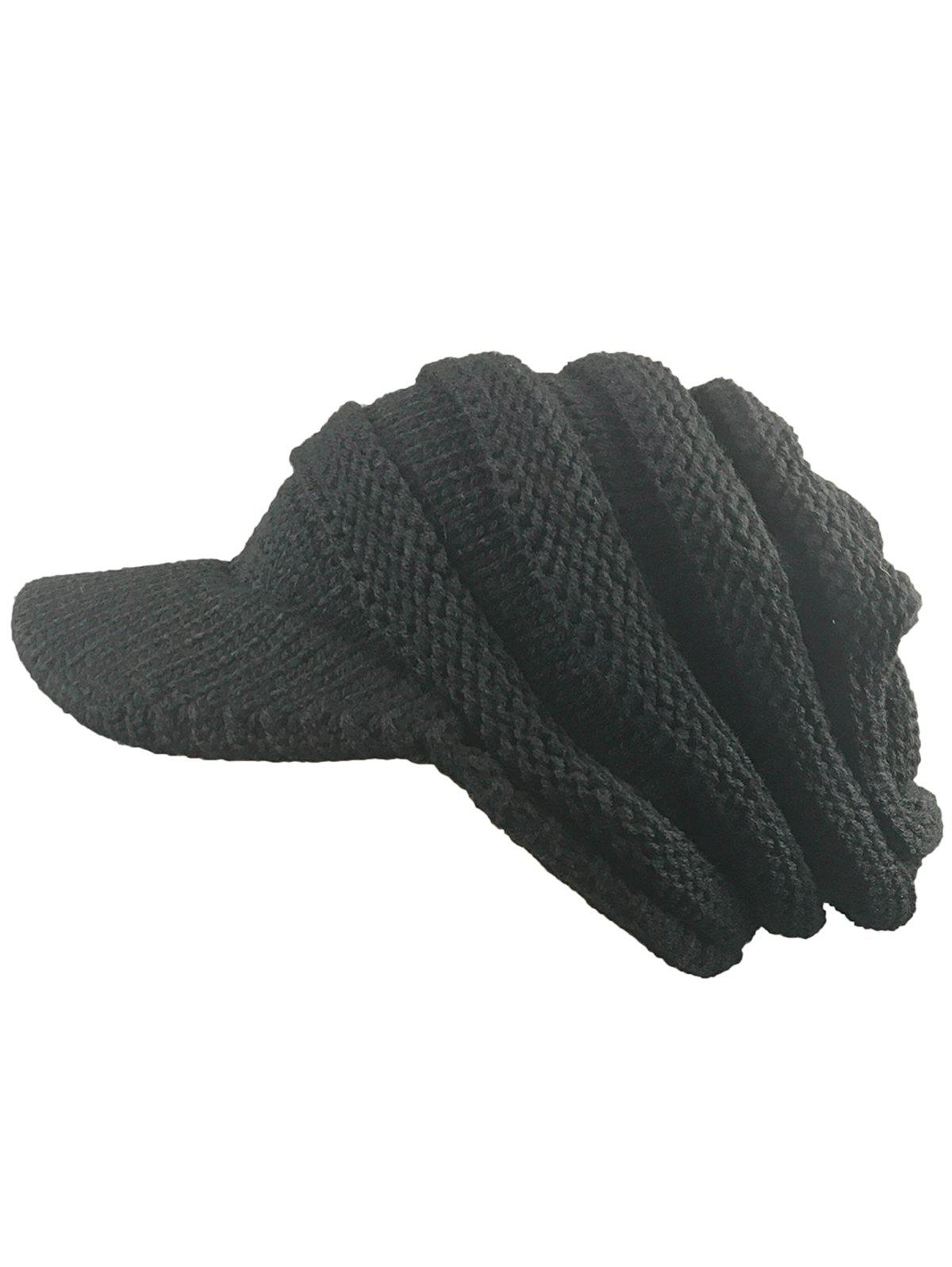 Vintage Striped Pattern Ribbed Knit Hat with BrimACCESSORIES<br><br>Color: BLACK; Hat Type: Skullies Beanie; Group: Adult; Gender: Unisex; Style: Fashion; Pattern Type: Striped; Material: Acrylic; Weight: 0.1000kg; Package Contents: 1 x Hat;