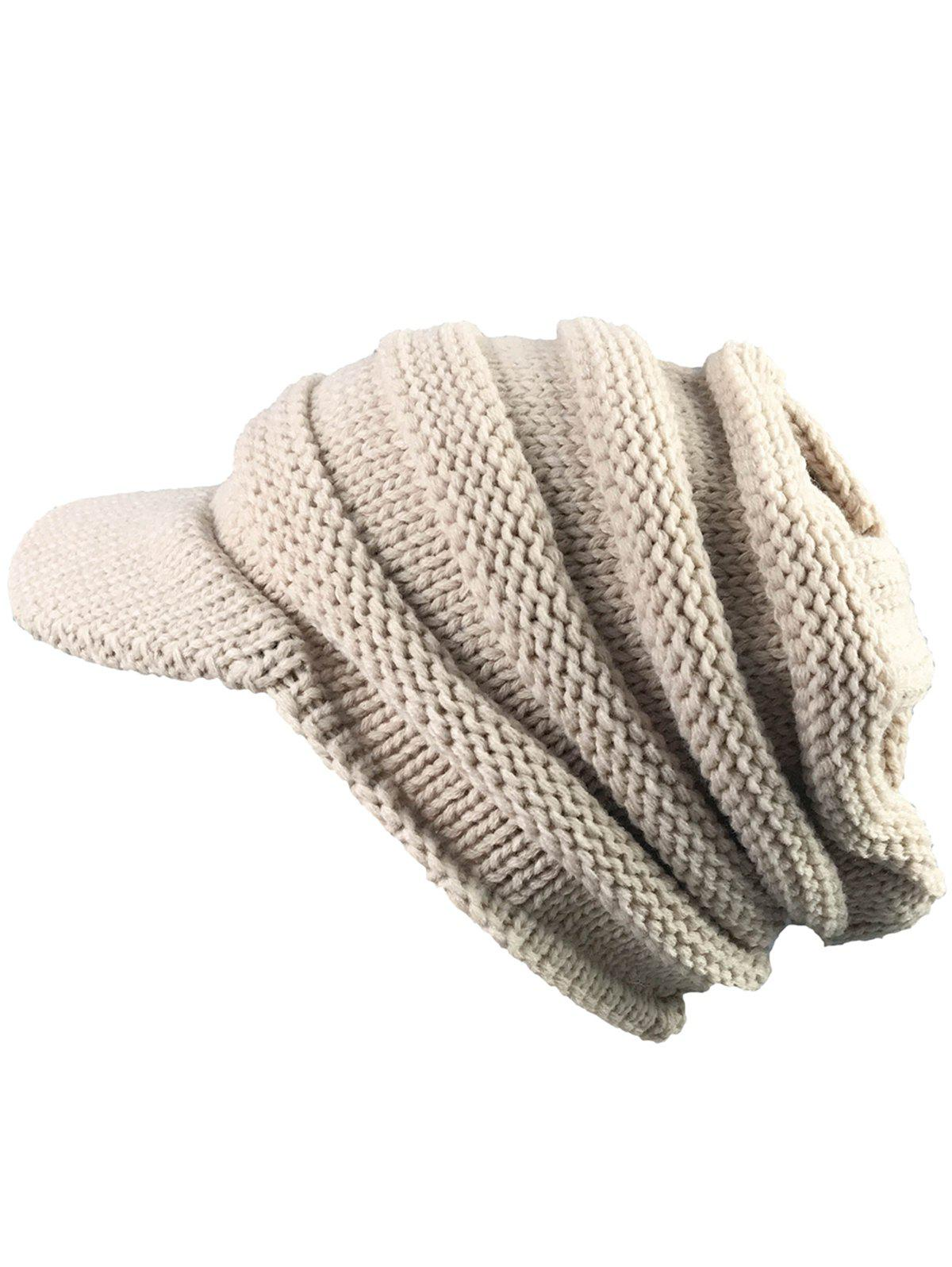 Vintage Striped Pattern Ribbed Knit Hat with BrimACCESSORIES<br><br>Color: BEIGE; Hat Type: Skullies Beanie; Group: Adult; Gender: Unisex; Style: Fashion; Pattern Type: Striped; Material: Acrylic; Weight: 0.1000kg; Package Contents: 1 x Hat;