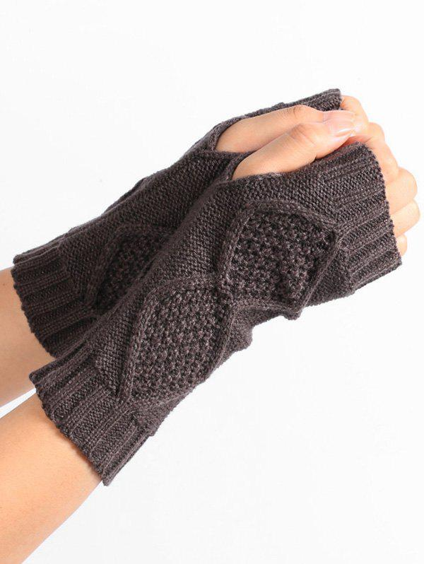 Store Rhombus Stripe Crochet Knitted Exposed Finger Gloves