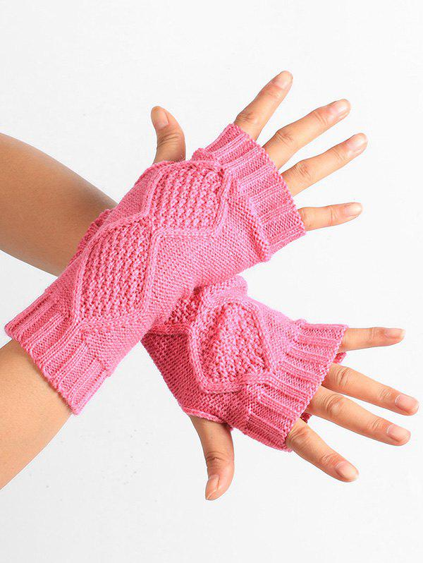 Fancy Rhombus Stripe Crochet Knitted Exposed Finger Gloves