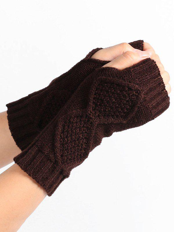 Outfits Rhombus Stripe Crochet Knitted Exposed Finger Gloves