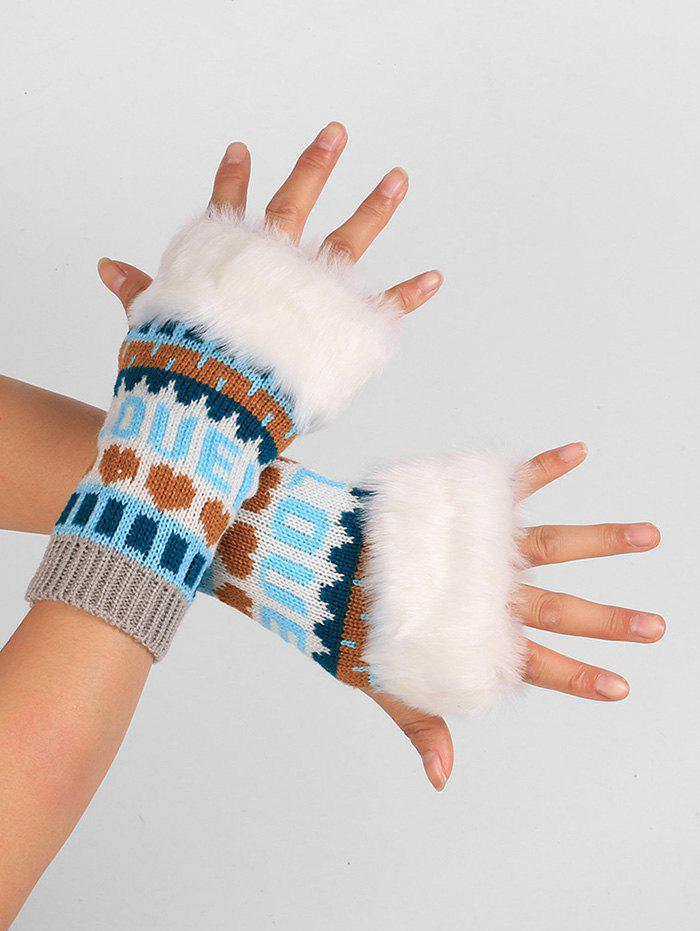 Letter and Heart Embellished Knitted Fingerless GlovesACCESSORIES<br><br>Color: LIGHT GRAY; Group: Adult; Gender: For Women; Style: Fashion; Pattern Type: Others; Material: Acrylic; Weight: 0.0380kg; Package Contents: 1 x Gloves (Pair);