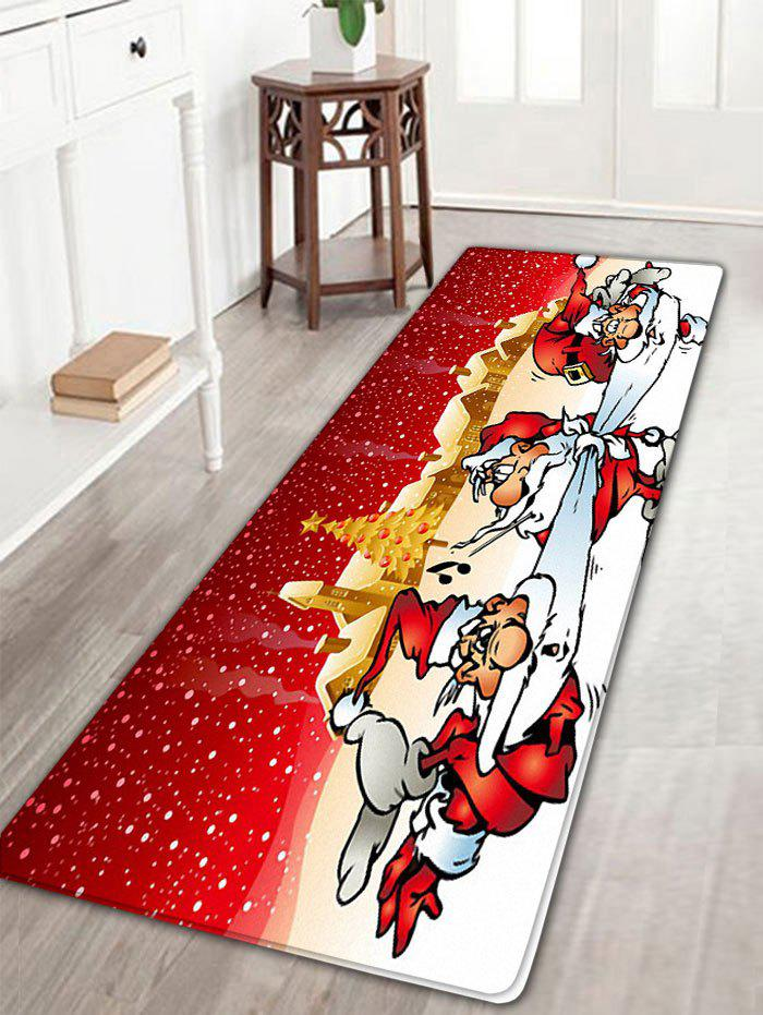Three Santa Claus Pattern Flannel Nonslip Christmas Bath RugHOME<br><br>Size: W16 INCH * L47 INCH; Color: RED; Products Type: Bath rugs; Materials: Flannel; Pattern: Santa Claus; Style: Festival; Shape: Rectangular; Package Contents: 1 x Rug;