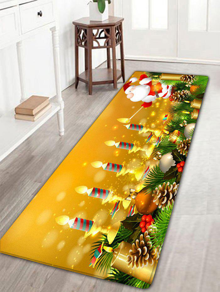 Santa Claus Candles Print Flannel Antiskid Christmas Bath RugHOME<br><br>Size: W16 INCH * L47 INCH; Color: GOLDEN; Products Type: Bath rugs; Materials: Flannel; Pattern: Santa Claus; Style: Festival; Shape: Rectangular; Package Contents: 1 x Rug;