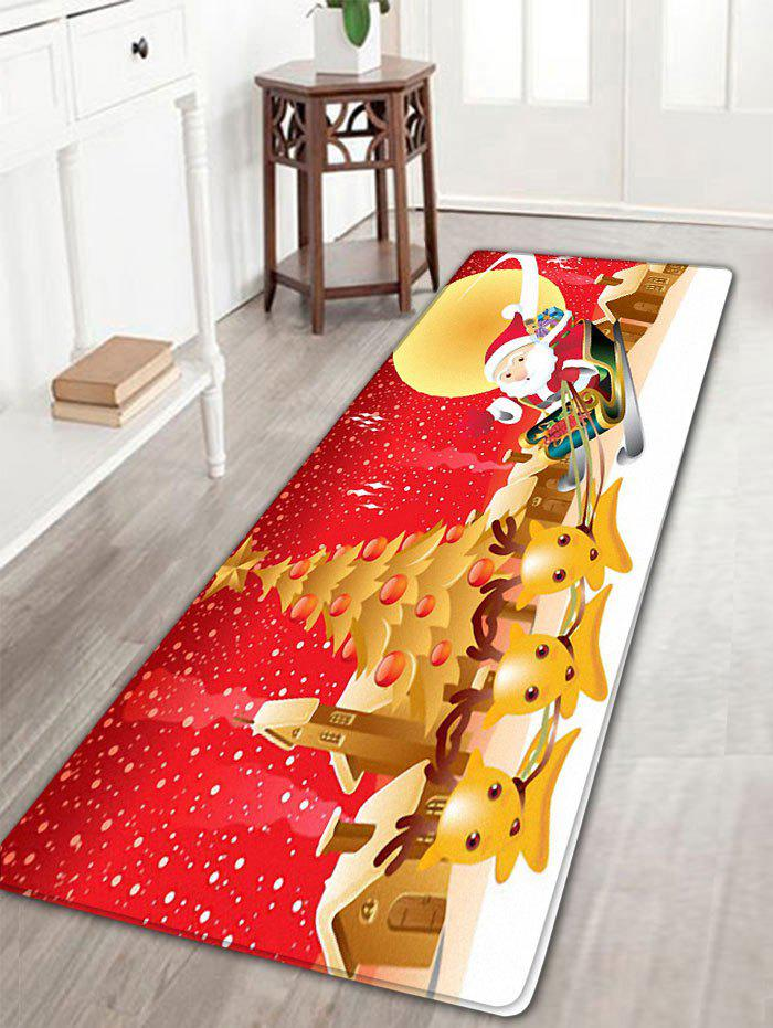 Christmas Moon Santa Claus Deer Nonslip Bath MatHOME<br><br>Size: W16 INCH * L47 INCH; Color: RED; Products Type: Bath rugs; Materials: Flannel; Pattern: Animal,Christmas Tree,Moon,Santa Claus; Style: Festival; Shape: Rectangular; Package Contents: 1 x Rug;