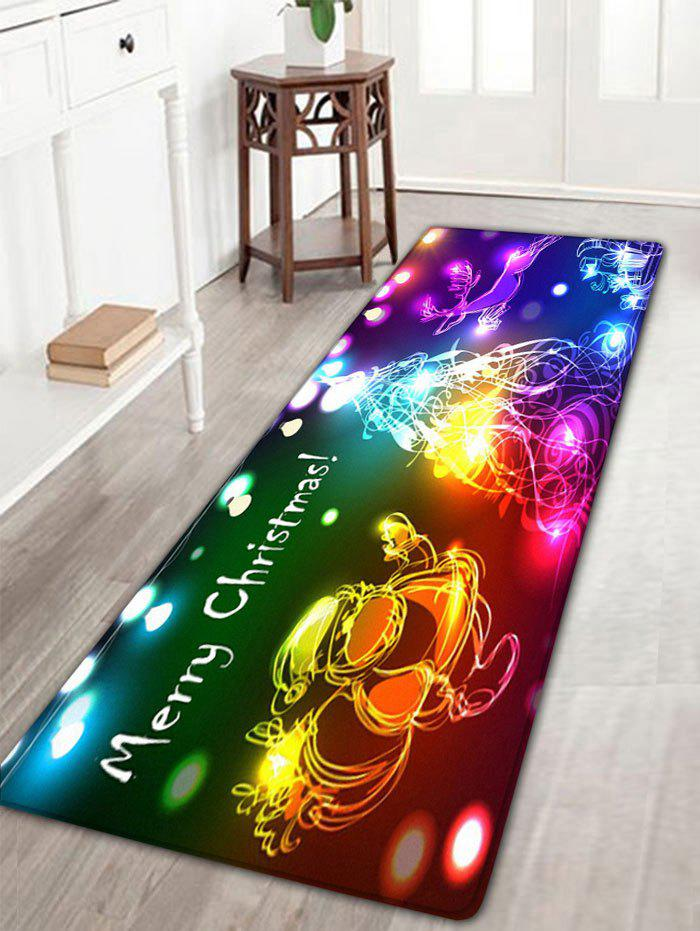 Neon Christmas Tree Santa Claus Flannel Skidproof Bath RugHOME<br><br>Size: W16 INCH * L47 INCH; Color: COLORFUL; Products Type: Bath rugs; Materials: Flannel; Pattern: Christmas Tree,Santa Claus; Style: Festival; Shape: Rectangular; Package Contents: 1 x Rug;