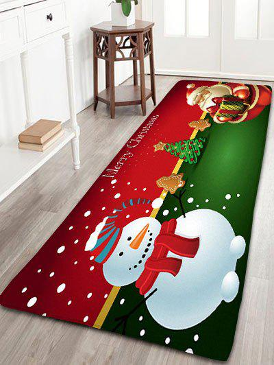 Flannel Nonslip Christmas Snowman Santa Claus Bath MatHOME<br><br>Size: W24 INCH * L71 INCH; Color: RED; Products Type: Bath rugs; Materials: Flannel; Pattern: Christmas Tree,Santa Claus,Snowman; Style: Festival; Shape: Rectangular; Package Contents: 1 x Rug;