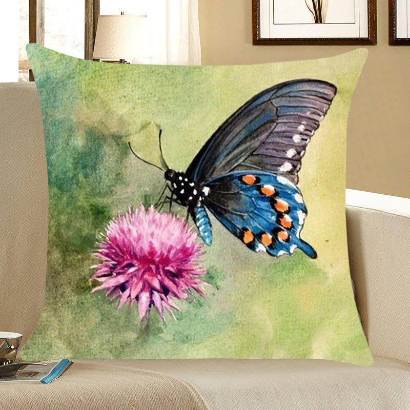 Butterfly Printed Decorative Pillow CaseHOME<br><br>Size: W18 INCH * L18 INCH; Color: COLORFUL; Material: Linen; Pattern: Animal; Style: Casual; Shape: Square; Weight: 0.0700kg; Package Contents: 1 x Pillow Case;