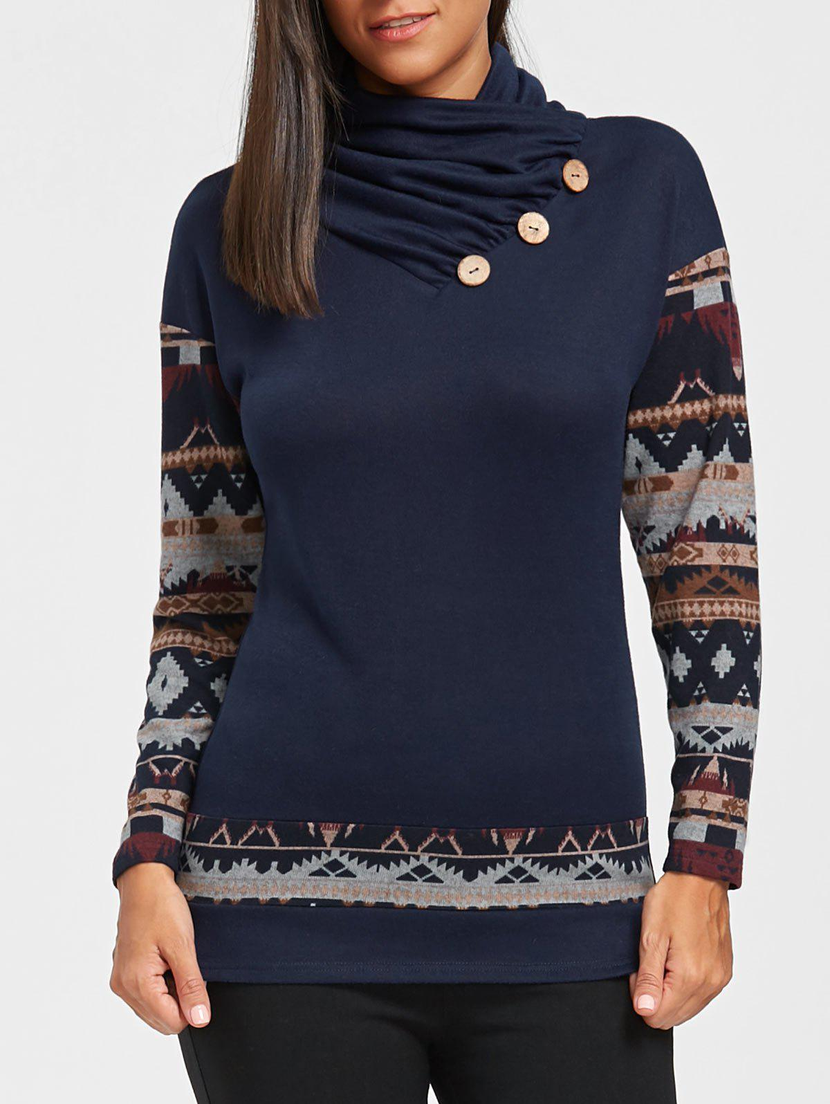 New Button Embellished Tribal Print Top