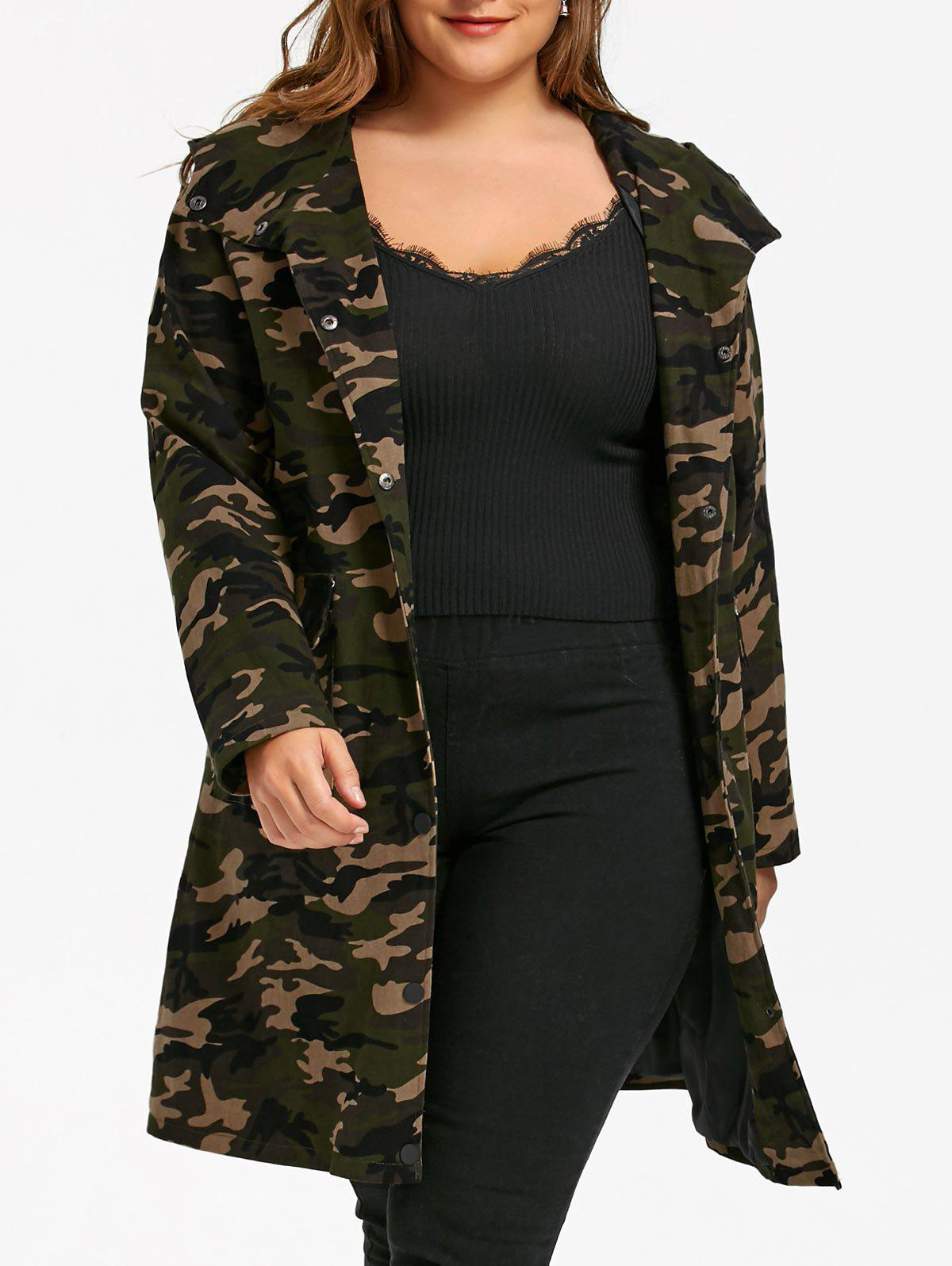 Affordable Plus Size Camouflage Flap Pockets Hooded Coat