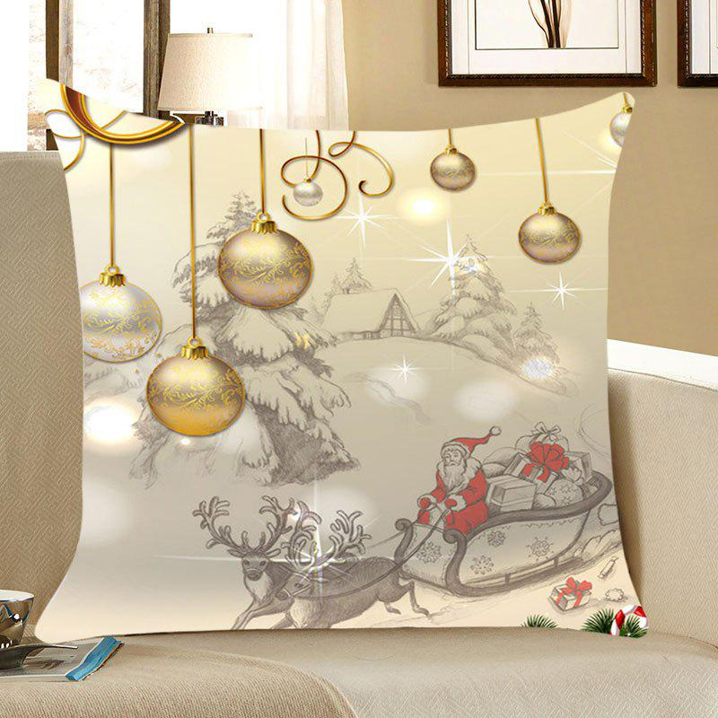 Christmas Balls Pattern Linen Throw Pillow CaseHOME<br><br>Size: W18 INCH * L18 INCH; Color: LIGHT GOLD; Material: Linen; Fabric Type: Linen; Pattern: Elk,Forest,Santa Claus; Style: Festival; Shape: Square; Weight: 0.0700kg; Package Contents: 1 x Pillow Case;