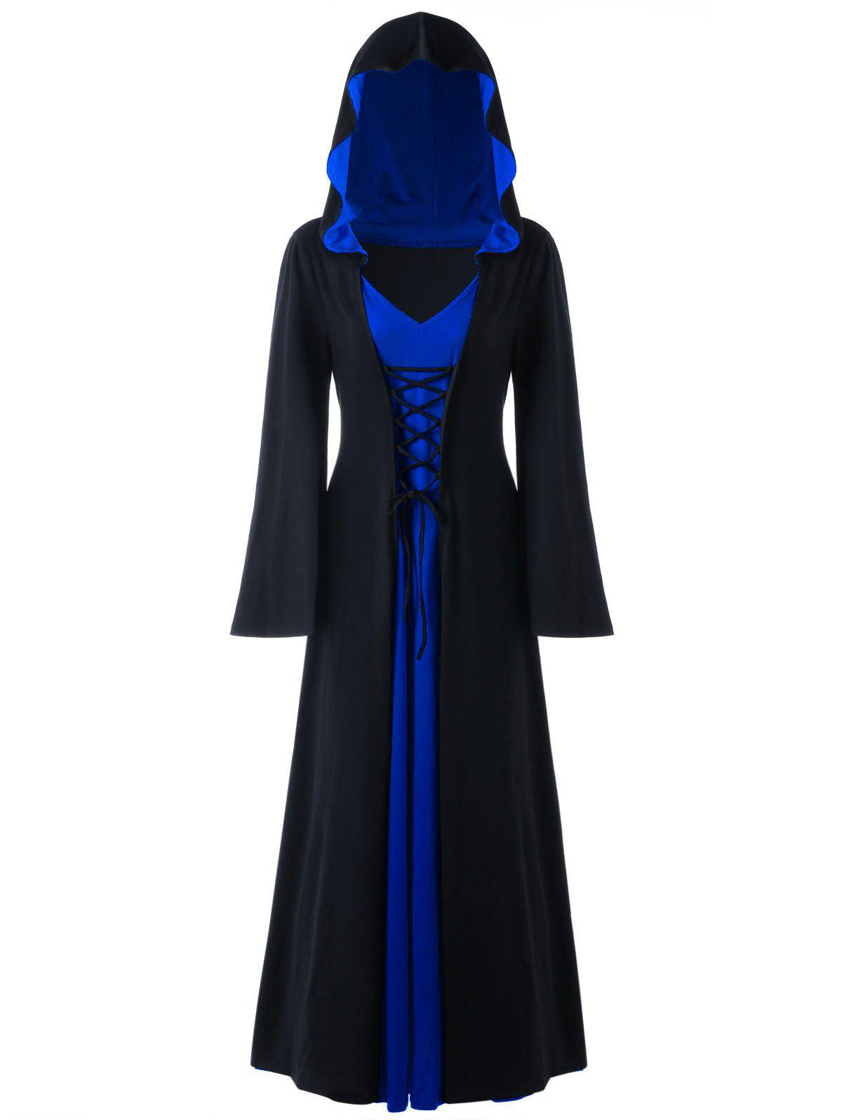 Halloween Plus Size Lace Up Hooded Maxi DressWOMEN<br><br>Size: 4XL; Color: BLUE; Style: Novelty; Material: Polyester,Spandex; Silhouette: A-Line; Dresses Length: Ankle-Length; Neckline: Hooded; Sleeve Length: Long Sleeves; Pattern Type: Solid; With Belt: No; Season: Fall,Spring; Weight: 0.6700kg; Package Contents: 1 x Dress;