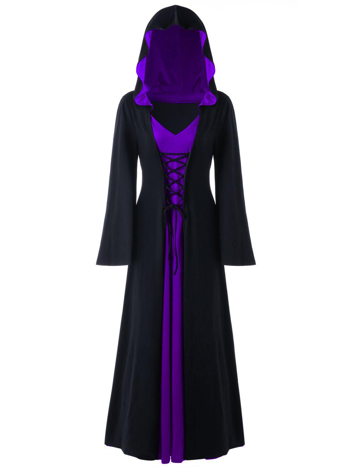 Halloween Plus Size Lace Up Hooded Maxi DressWOMEN<br><br>Size: 3XL; Color: PURPLE; Style: Novelty; Material: Polyester,Spandex; Silhouette: A-Line; Dresses Length: Ankle-Length; Neckline: Hooded; Sleeve Length: Long Sleeves; Pattern Type: Solid; With Belt: No; Season: Fall,Spring; Weight: 0.6700kg; Package Contents: 1 x Dress;
