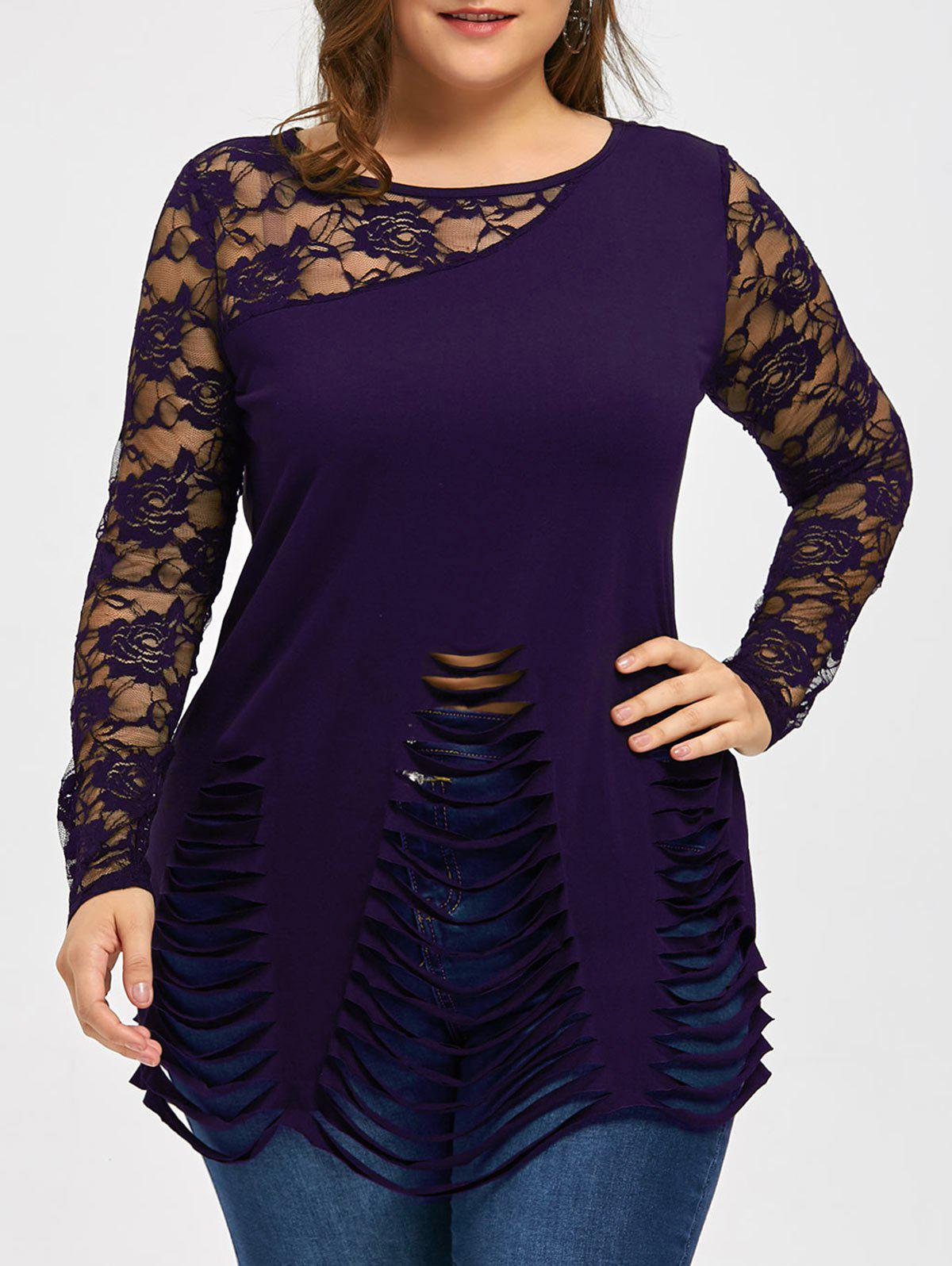 Plus Size Lace Insert Ripped TopWOMEN<br><br>Size: 5XL; Color: DEEP PURPLE; Material: Polyester,Spandex; Shirt Length: Long; Sleeve Length: Full; Collar: Round Neck; Style: Fashion; Season: Fall,Spring,Summer; Embellishment: Lace; Pattern Type: Floral; Weight: 0.2300kg; Package Contents: 1 x Top;