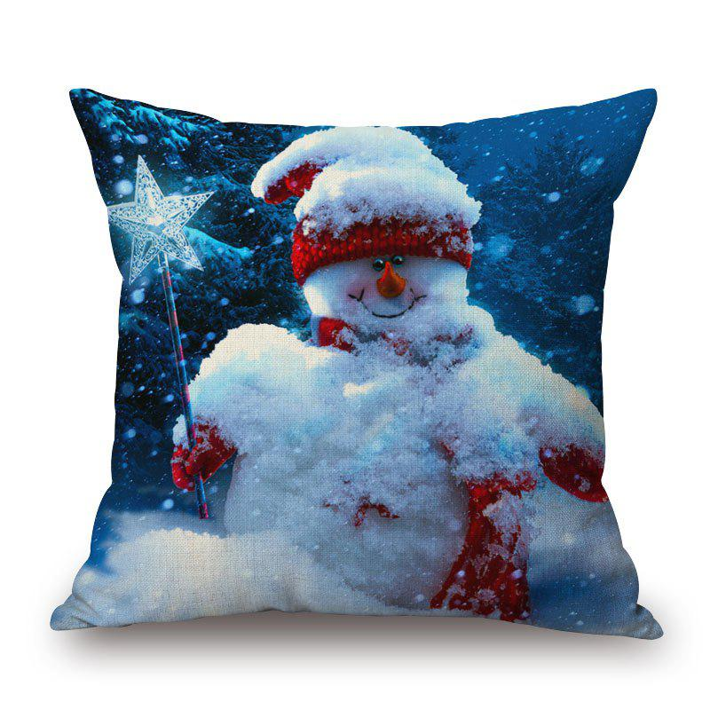 Christmas Snowman Star Stick Printed PillowcaseHOME<br><br>Size: 45*45CM; Color: COLORMIX; Material: Polyester / Cotton; Pattern: Snowman; Style: Festival; Shape: Square; Size(CM): 45*45; Weight: 0.2000kg; Package Contents: 1 x Pillowcase;