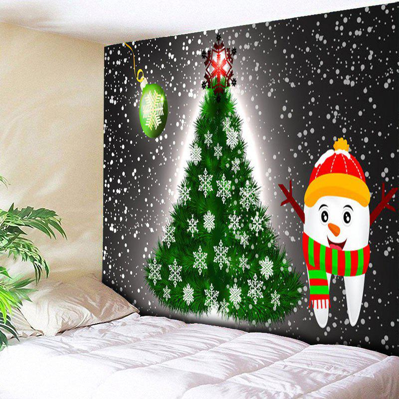 Dark Grey W79 Inch * L59 Inch Christmas Tree Snowman Printed Wall ...