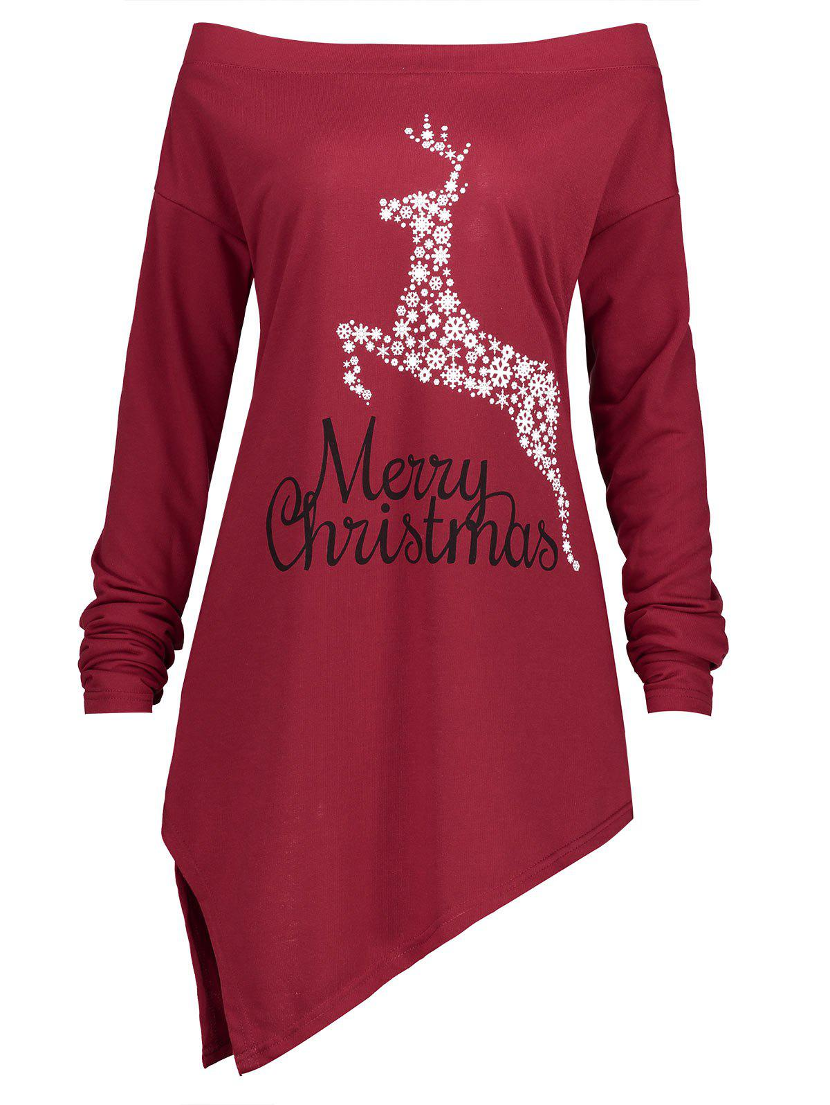Christmas Elk Snowflake Plus Size Asymmetrical TeeWOMEN<br><br>Size: XL; Color: RED; Material: Cotton,Polyester; Shirt Length: Long; Sleeve Length: Full; Collar: Off The Shoulder; Style: Fashion; Season: Fall,Spring,Winter; Pattern Type: Animal,Letter; Weight: 0.3700kg; Package Contents: 1 x T-shirt;