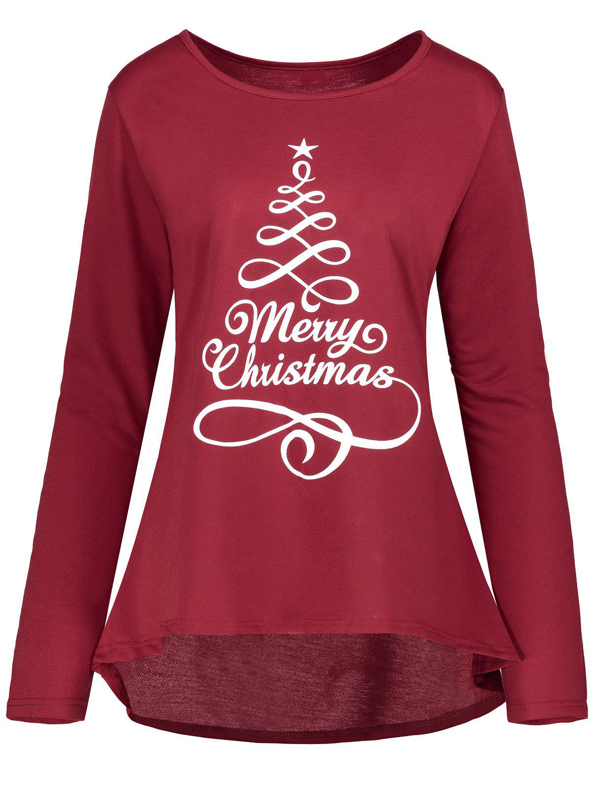Christmas Star Print Plus Size High Low T-shirtWOMEN<br><br>Size: 3XL; Color: WINE RED; Material: Cotton,Polyester; Shirt Length: Long; Sleeve Length: Full; Collar: Round Neck; Style: Casual; Season: Fall,Spring,Winter; Pattern Type: Letter,Star; Weight: 0.3200kg; Package Contents: 1 x T-shirt;