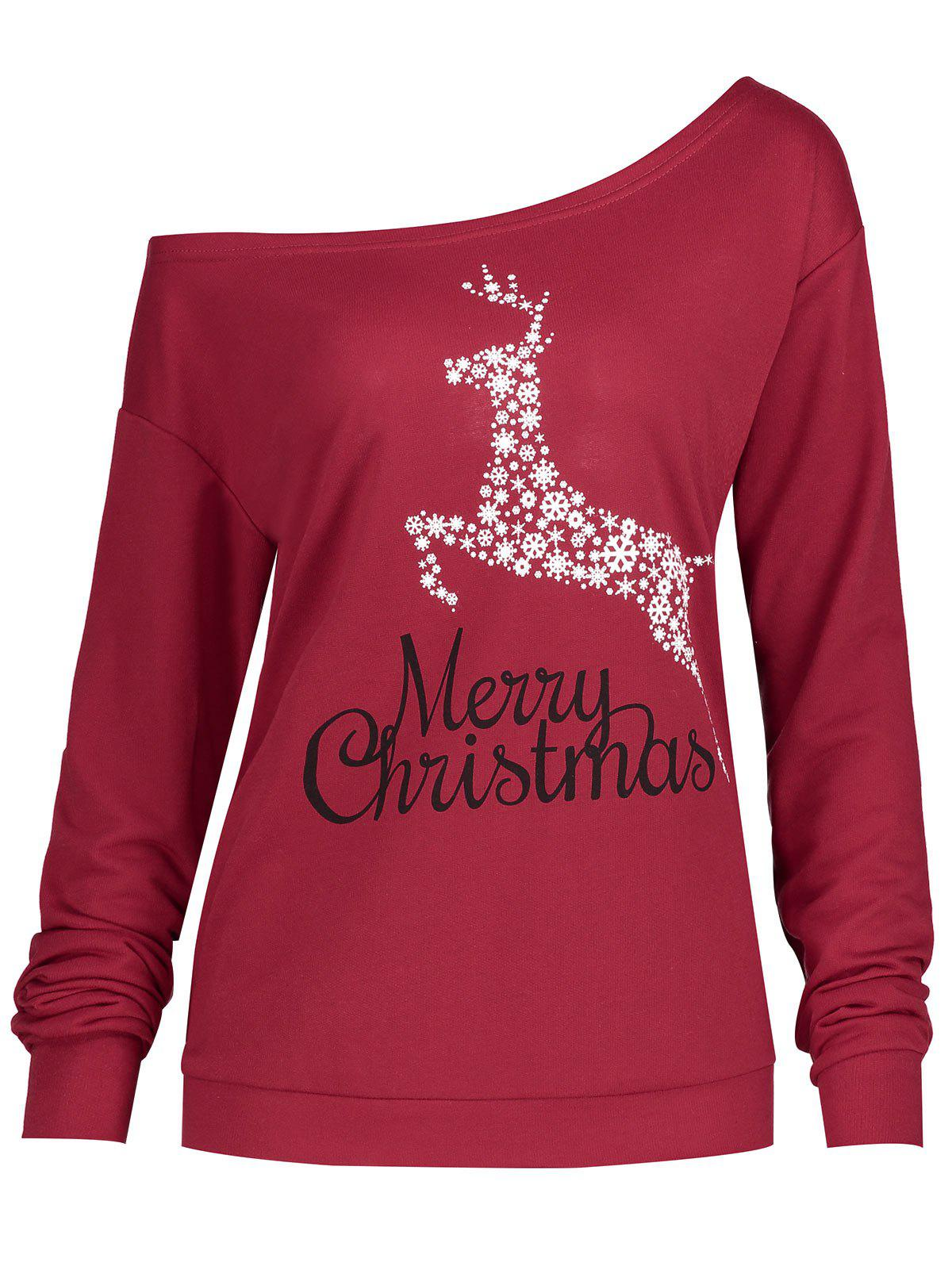 Christmas Snowflake Elk Plus Size SweatshirtWOMEN<br><br>Size: XL; Color: WINE RED; Material: Cotton,Polyester; Shirt Length: Regular; Sleeve Length: Full; Style: Casual; Pattern Style: Animal,Letter; Season: Fall,Spring,Winter; Weight: 0.3150kg; Package Contents: 1 x Sweatshirt;