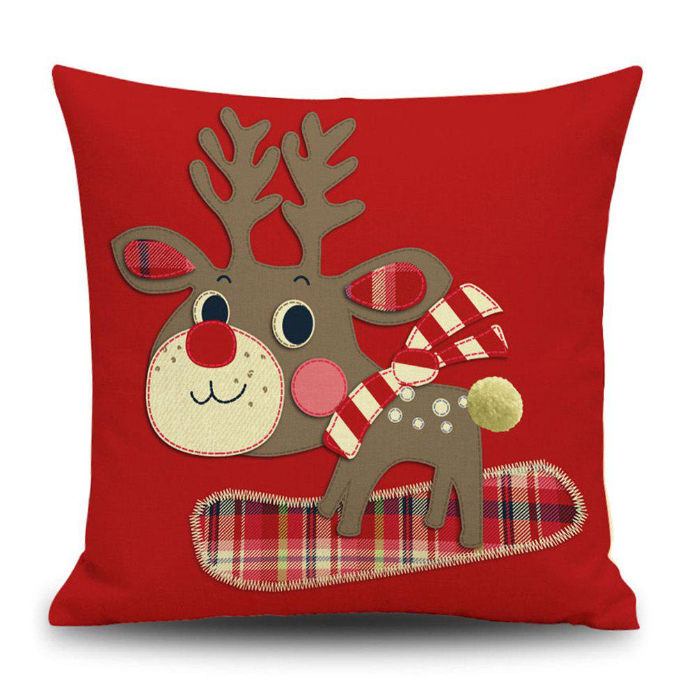 Christmas Cartoon Deer Print Decorative Linen Sofa PillowcaseHOME<br><br>Size: 45*45CM; Color: RED; Material: Linen; Pattern: Animal,Cartoon; Style: Festival; Shape: Square; Weight: 0.1200kg; Package Contents: 1 x Pillowcase;