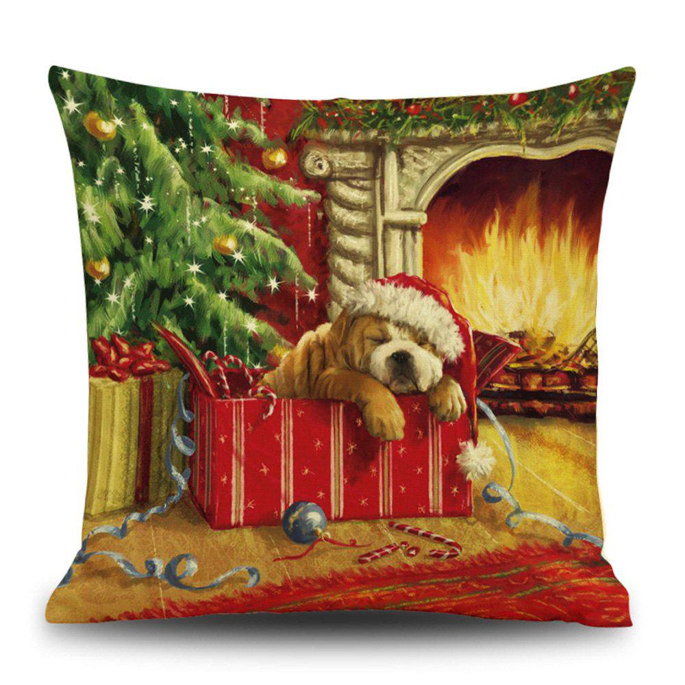 Christmas Fireplace Dog Print Decorative Linen Sofa PillowcaseHOME<br><br>Size: 45*45CM; Color: COLORMIX; Material: Linen; Pattern: Animal,Santa Claus,Tree; Style: Festival; Shape: Square; Weight: 0.1200kg; Package Contents: 1 x Pillowcase;