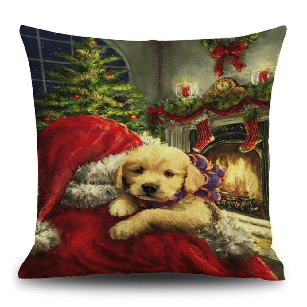 Online Christmas Dog Fireplace Print Linen Pillowcase
