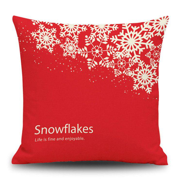 Christmas Snowflakes Print Decorative Linen Sofa PillowcaseHOME<br><br>Size: 45*45CM; Color: RED; Material: Linen; Pattern: Letter,Snowflake; Style: Festival; Shape: Square; Weight: 0.1200kg; Package Contents: 1 x Pillowcase;