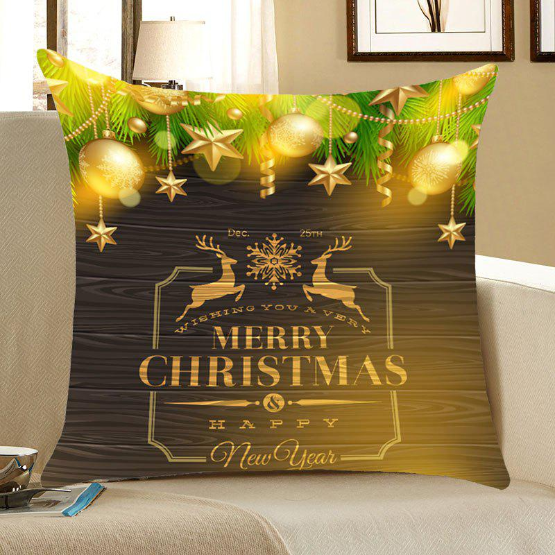 Christmas Elks Decorations Printed  Throw Pillow CaseHOME<br><br>Size: W18 INCH * L18 INCH; Color: LIGHT GREEN; Material: Linen; Fabric Type: Linen; Pattern: Elk,Letter; Style: Festival; Weight: 0.0700kg; Package Contents: 1 x Pillow Case;