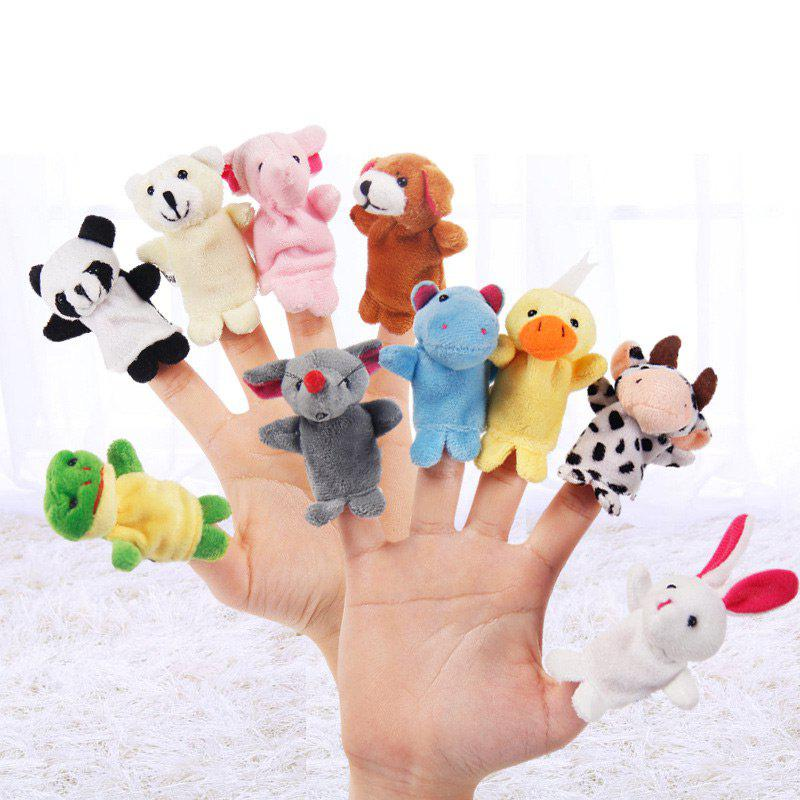 10 Pcs Baby Educational Finger Toys Animals Finger PuppetsHOME<br><br>Color: COLORMIX; Products Type: Finger Puppets; Style: Trendy; Material: Polyester; Package Contents: 1 x Finger Puppets (Set);
