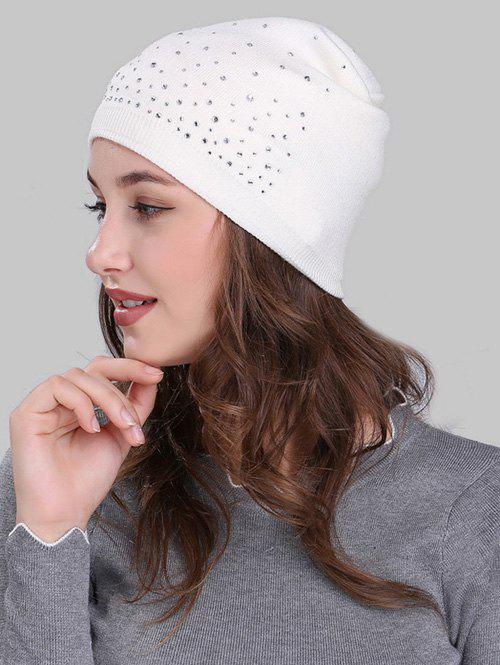 Outdoor Rhinestone Embellished Crochet Knit Beanie CapACCESSORIES<br><br>Color: WHITE; Hat Type: Skullies Beanie; Group: Adult; Gender: For Women; Style: Fashion; Pattern Type: Others; Material: Acrylic; Weight: 0.1300kg; Package Contents: 1 x Hat;
