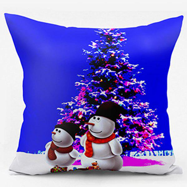 Christmas Tree Snowman Double Sided Printed PillowcaseHOME<br><br>Size: W17.5 INCH * L17.5 INCH; Color: BLUE; Material: Polyester / Cotton; Pattern: Christmas Tree,Snowman; Style: Festival; Shape: Square; Weight: 0.1100kg; Package Contents: 1 x Pillowcase;