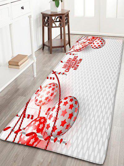 Merry Christmas Balls Print Nonslip Flannel Bath MatHOME<br><br>Size: W24 INCH * L71 INCH; Color: GREY WHITE; Products Type: Bath rugs; Materials: Flannel; Pattern: Ball; Style: Festival; Shape: Rectangular; Package Contents: 1 x Rug;