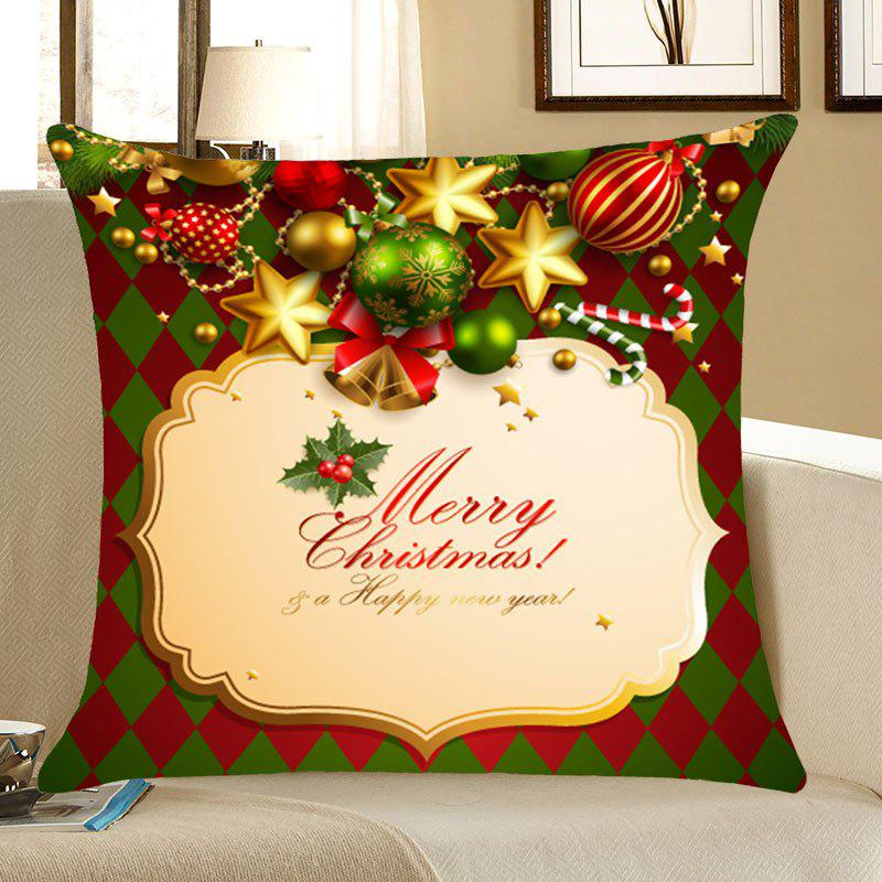 Merry Christmas Bells Printing Linen Pillow CaseHOME<br><br>Size: W18 INCH * L18 INCH; Color: COLORFUL; Material: Linen; Pattern: Star; Style: Festival; Shape: Square; Size(CM): 45*45; Weight: 0.0700kg; Package Contents: 1 x Pillow Case;