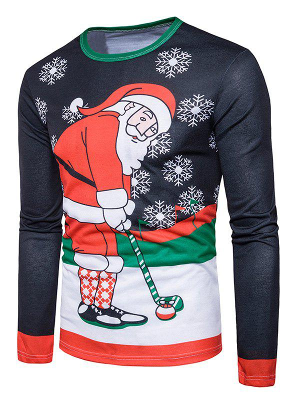Long Sleeve Christmas Santa Print Ugly T-shirtMEN<br><br>Size: XL; Color: COLORMIX; Material: Cotton,Polyester; Sleeve Length: Full; Collar: Crew Neck; Style: Casual,Fashion,Streetwear; Pattern Type: Character,Print; Season: Fall,Winter; Weight: 0.3100kg; Package Contents: 1 x T-shirt;