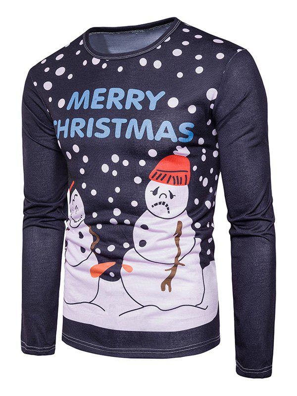 Snowman Print Christmas Ugly T-shirtMEN<br><br>Size: M; Color: COLORMIX; Material: Cotton,Polyester; Sleeve Length: Full; Collar: Crew Neck; Style: Casual,Fashion,Streetwear; Pattern Type: Character,Print; Season: Fall; Weight: 0.3100kg; Package Contents: 1 x T-shirt;