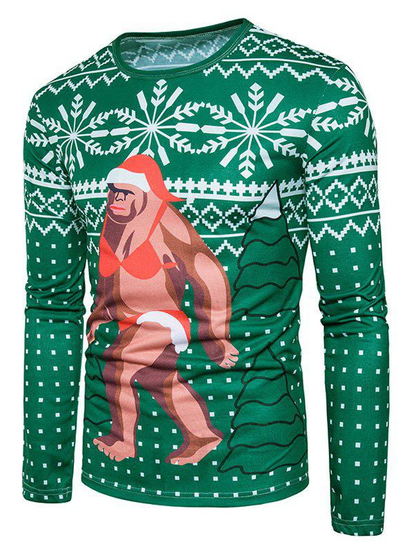 Christmas Snowflake Cartoon Print Ugly T-shirtMEN<br><br>Size: 2XL; Color: COLORMIX; Material: Cotton,Polyester; Sleeve Length: Full; Collar: Crew Neck; Style: Casual,Fashion,Streetwear; Pattern Type: Character,Print; Season: Fall,Winter; Weight: 0.3100kg; Package Contents: 1 x T-shirt;