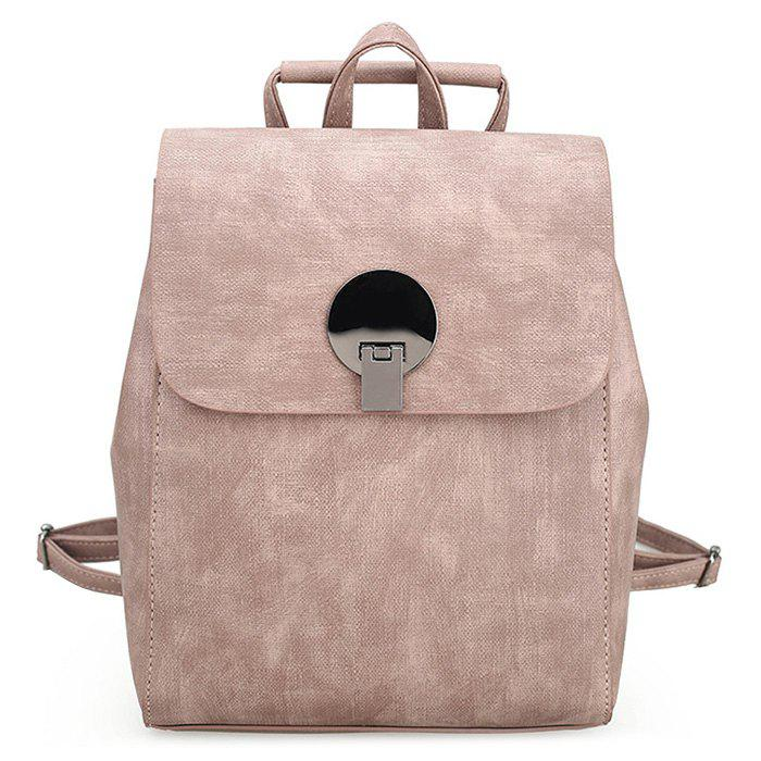 Metal Detailed PU Leather Stitching BackpackSHOES &amp; BAGS<br><br>Color: PINK; Handbag Type: Backpack; Style: Fashion; Gender: For Women; Pattern Type: Solid; Handbag Size: Small(20-30cm); Closure Type: Cover; Occasion: Versatile; Main Material: PU; Weight: 0.6000kg; Size(CM)(L*W*H): 21*9*28; Package Contents: 1 x Backpack;