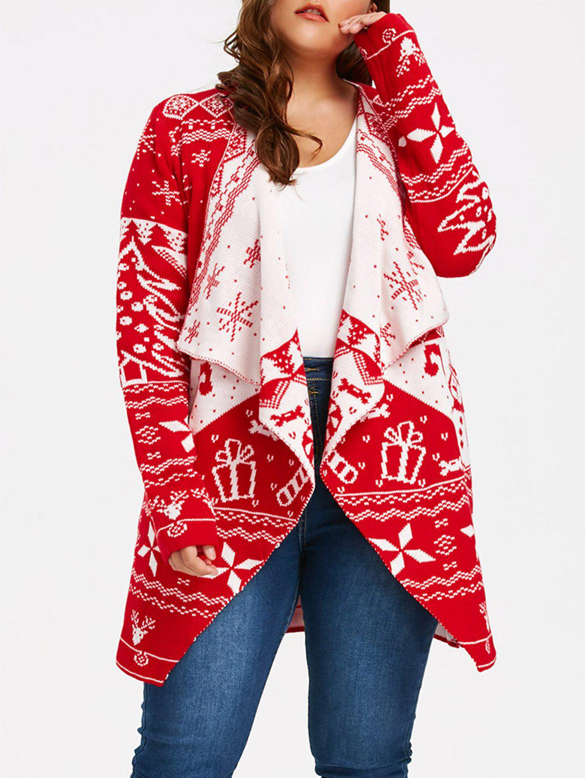 Christmas Element Plus Size Draped CardiganWOMEN<br><br>Size: 3XL; Color: RED; Type: Cardigans; Material: Acrylic,Spandex; Sleeve Length: Full; Collar: Collarless; Style: Casual; Season: Fall,Spring,Winter; Pattern Type: Others; Elasticity: Micro-elastic; Weight: 0.6800kg; Package Contents: 1 x Cardigan;