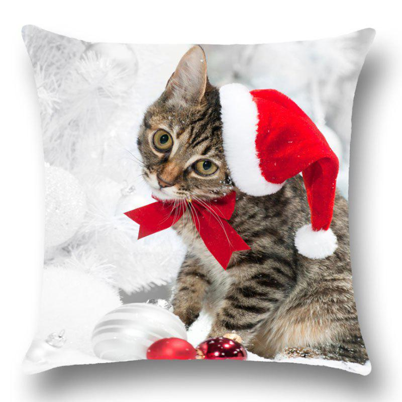 Christmas Kitten Print Linen Pillow CaseHOME<br><br>Size: W18 INCH * L18 INCH; Color: RED; Material: Linen; Pattern: Animal; Style: Festival; Shape: Square; Size(CM): 45*45; Weight: 0.0700kg; Package Contents: 1 x Pillow Case;