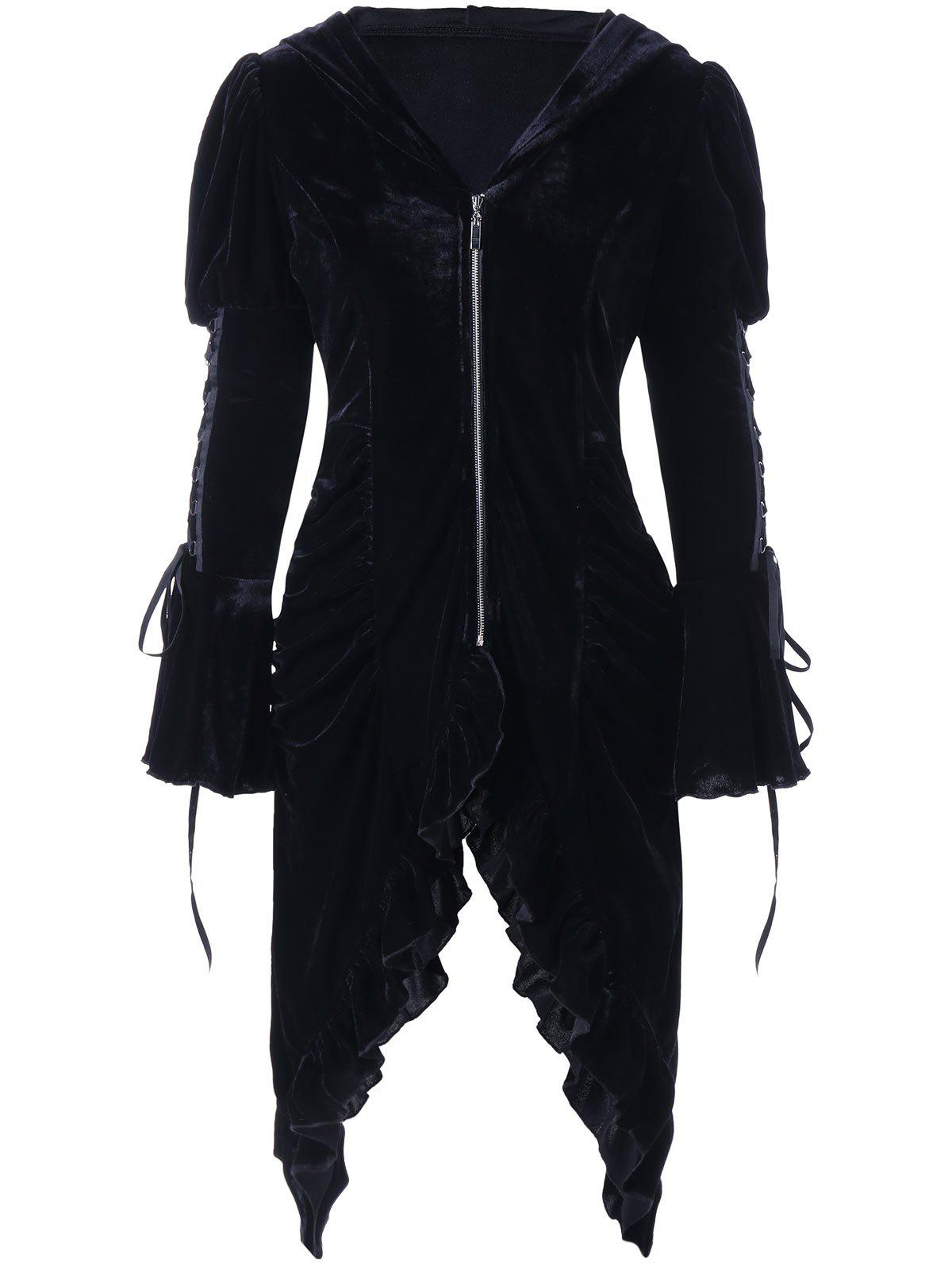 Ruched Flounced Lace Up Hooded CoatWOMEN<br><br>Size: 2XL; Color: BLACK; Clothes Type: Others; Material: Polyester; Type: Slim; Shirt Length: Long; Sleeve Length: Full; Collar: Hooded; Pattern Type: Solid; Style: Novelty; Season: Fall,Spring; Weight: 0.6300kg; Package Contents: 1 x Coat;