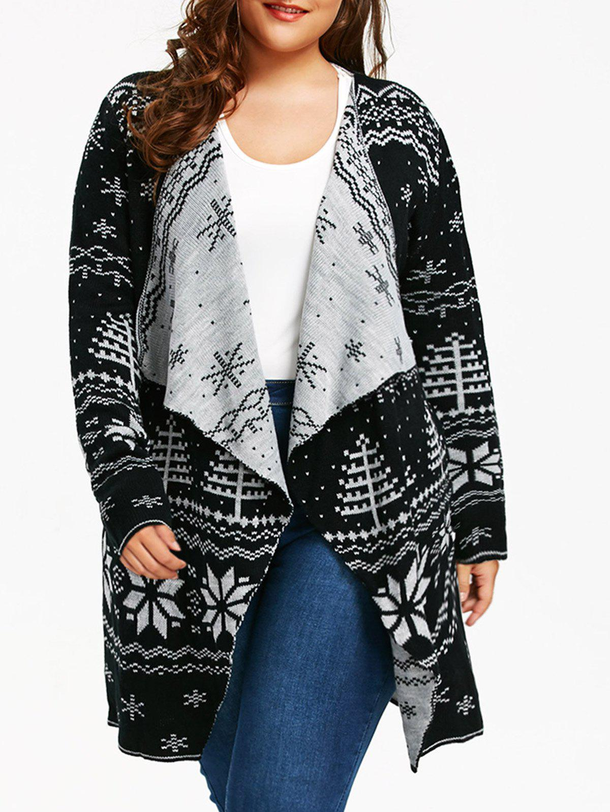 Christmas Snowflake Plus Size Tunic Draped CardiganWOMEN<br><br>Size: 5XL; Color: BLACK; Type: Cardigans; Material: Acrylic,Polyester; Sleeve Length: Full; Collar: Collarless; Style: Casual; Season: Fall,Spring,Winter; Pattern Type: Others; Elasticity: Micro-elastic; Weight: 0.6800kg; Package Contents: 1 x Cardigan;
