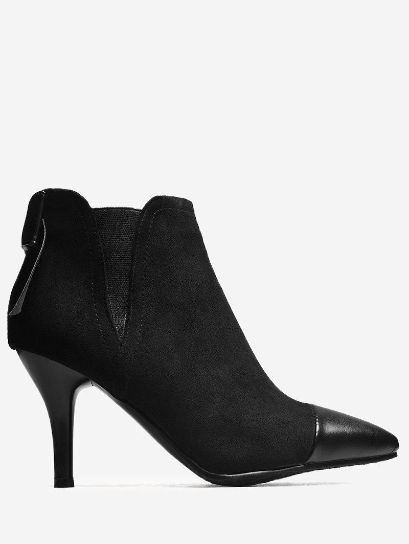 Unique Pointed Toe Bow Ankle Boots