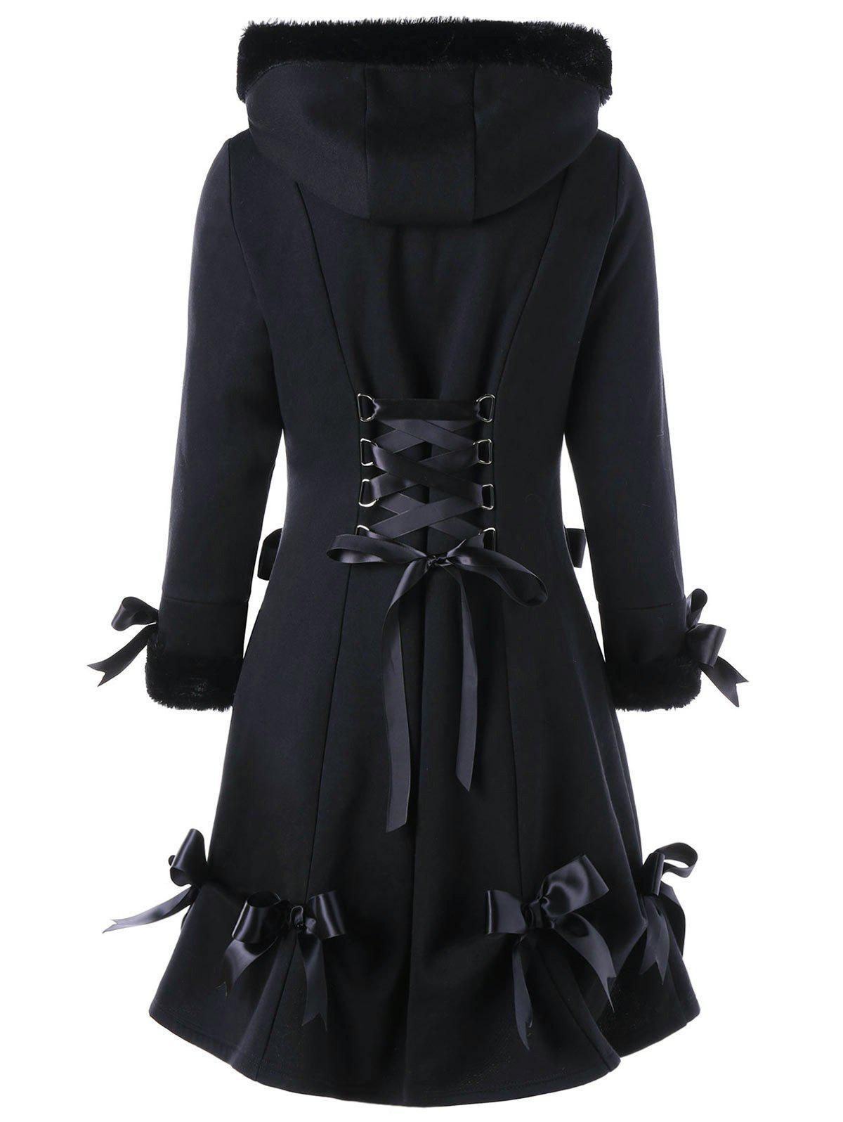Hooded Bowknot Heart Pocket Long Lace-up CoatWOMEN<br><br>Size: XL; Color: BLACK; Clothes Type: Others; Material: Cotton Blend,Polyester; Type: Slim; Shirt Length: Long; Sleeve Length: Full; Collar: Hooded; Pattern Type: Solid; Embellishment: Bowknot; Style: Fashion; Season: Fall,Winter; Weight: 0.7780kg; Package Contents: 1 x Coat;