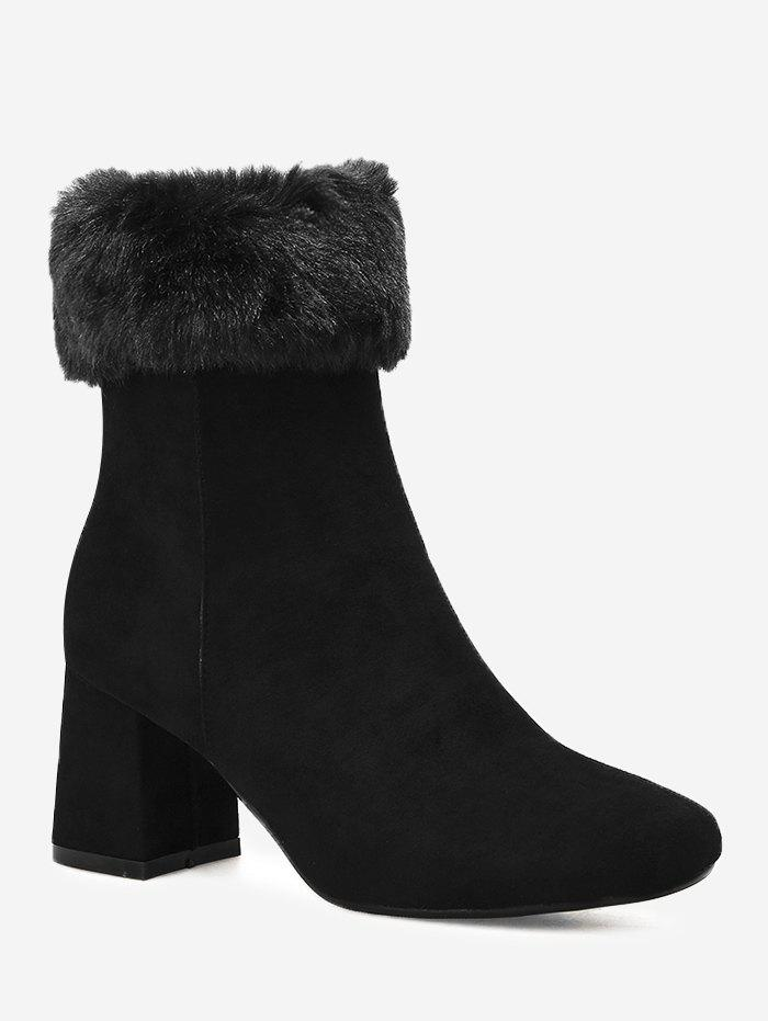 Fold Over Square Toe Mid Calf BootsSHOES &amp; BAGS<br><br>Size: 39; Color: BLACK; Gender: For Women; Boot Type: Fashion Boots; Season: Spring/Fall,Winter; Boot Height: Mid-Calf; Toe Shape: Square Toe; Heel Type: Chunky Heel; Heel Height Range: Med(1.75-2.75); Heel Height: 6.5CM; Pattern Type: Solid; Closure Type: Zip; Shoe Width: Medium(B/M); Upper Material: Suede; Weight: 1.3800kg; Package Contents: 1 x Boots (pair);