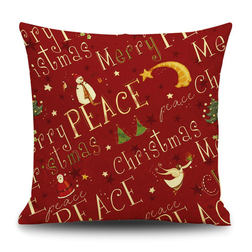 Christmas Peace Print Decorative Linen Sofa PillowcaseHOME<br><br>Size: 45*45CM; Color: RED; Material: Linen; Pattern: Letter; Style: Festival; Shape: Square; Weight: 0.1200kg; Package Contents: 1 x Pillowcase;