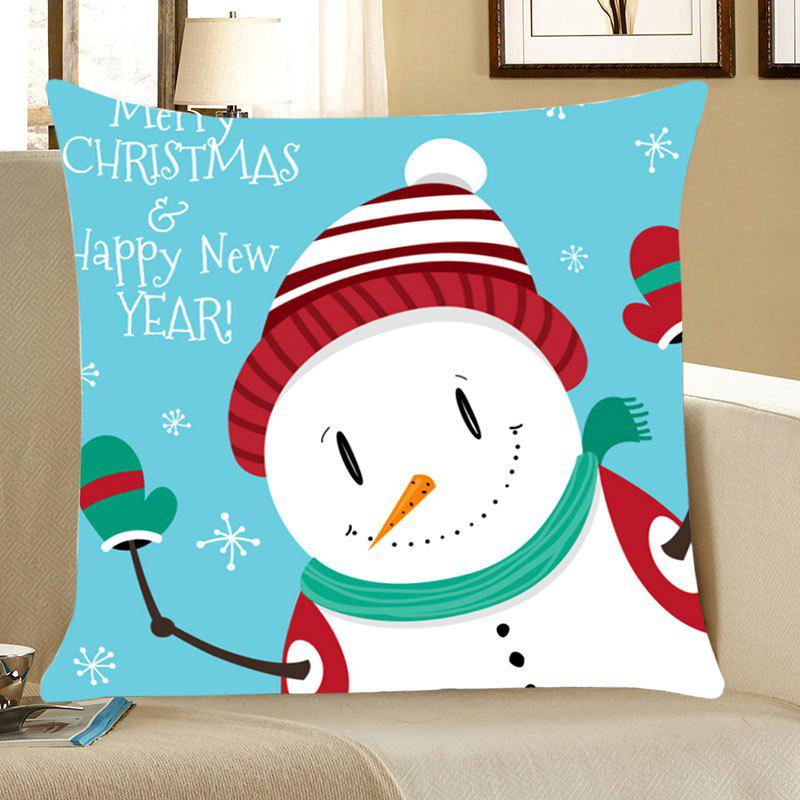 Merry Christmas Happy New Year Snowman PillowcaseHOME<br><br>Size: W18 INCH * L18 INCH; Color: COLORFUL; Material: Linen; Pattern: Snowman; Style: Festival; Shape: Square; Size(CM): 45*45; Weight: 0.0700kg; Package Contents: 1 x Pillow Case;