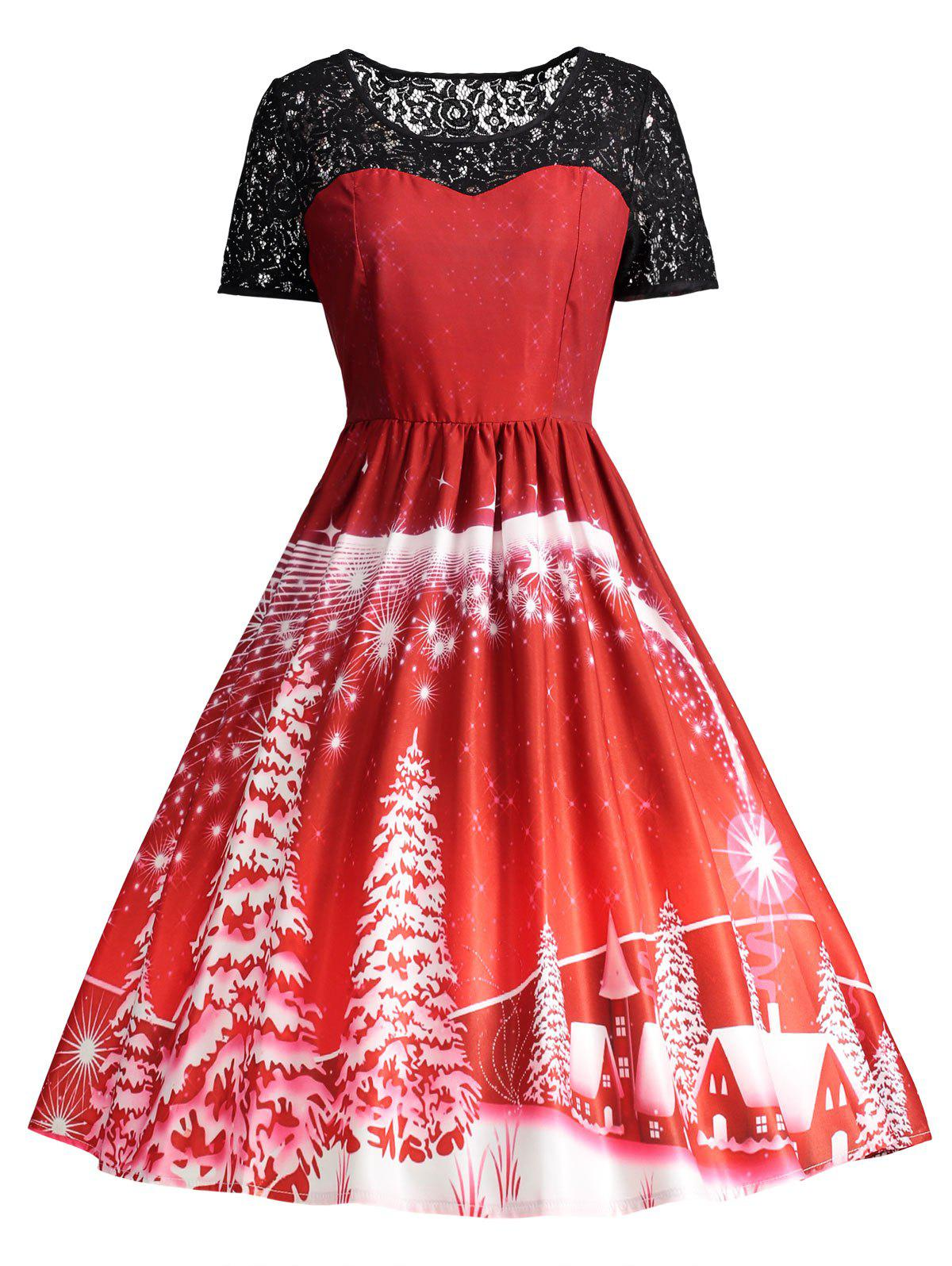Ugly Christmas Party Lace Trim Vintage DressWOMEN<br><br>Size: S; Color: RED; Style: Cute; Material: Polyester,Spandex; Silhouette: A-Line; Dresses Length: Knee-Length; Neckline: Round Collar; Sleeve Length: Short Sleeves; Pattern Type: Others; With Belt: No; Season: Fall,Spring; Weight: 0.3150kg; Package Contents: 1 x Dress;