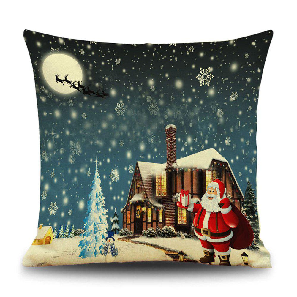 Snowy Christmas Night Print Decorative Linen Sofa PillowcaseHOME<br><br>Size: 45*45CM; Color: COLORMIX; Material: Linen; Pattern: Moon,Santa Claus,Snowflake; Style: Festival; Shape: Square; Weight: 0.1200kg; Package Contents: 1 x Pillowcase;